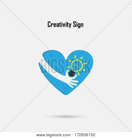 Human hand light bulb and heart logo vector design with brain learning knowledge and creativity idea concept. Design for poster flyer cover brochure business idea and industrial education concept.Vector illustration