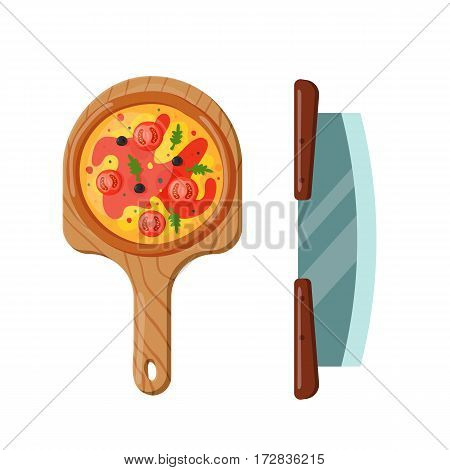 Italian cook pizza icon vector illustration. Pizzeria cartoon dinner icon fresh food. Fast party meal ingredients pepperoni element delicious symbols.