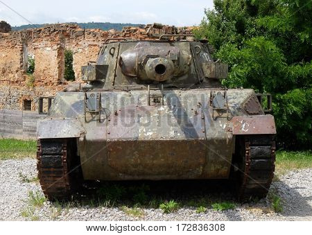 TURANJ, CROATIA - JUNE 11: Military tanks Open air museum of the Croatian War of Independence, 1991 - 1995, (Homeland War, Domovinski Rat), Turanj, Croatia on June 11, 2016