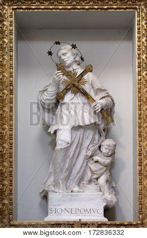 ROME, ITALY - SEPTEMBER 03: Saint John of Nepomuk Church of St Lawrence at Lucina, Rome, Italy on September 03, 2016.