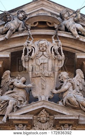 ROME, ITALY - SEPTEMBER 03: Angels, Church of Saints Vincent and Anastasius at Trevi in Rome, Italy on September 03,2016.
