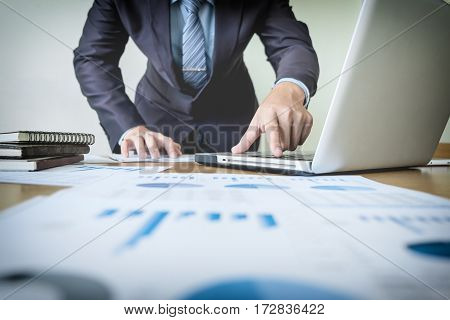 Working Process Startup. Businessman Working With New Finance Project At Office With Laptop, Tablet