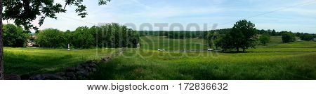 panoramic view of Culp's hill from cemetery hill Getysburg national military park, Getysburg Pennsylvania