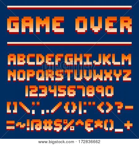 Pixel retro font video computer game design 8 bit letters and numbers electronic futuristic style and vector abc typeface digital creative alphabet. Website modern vintage creative graphic.