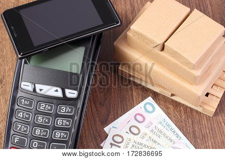 Payment Terminal With Mobile Phone With Nfc Technology, Polish Currency Money And Wrapped Boxes On W