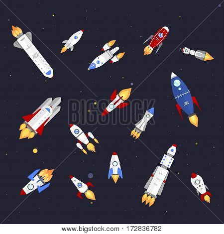 Vector technology ship rocket cartoon design. Startup innovation product. Cosmos fantasy space launch graphic exploration. Flight travel concept futuristic speed spacecraft.