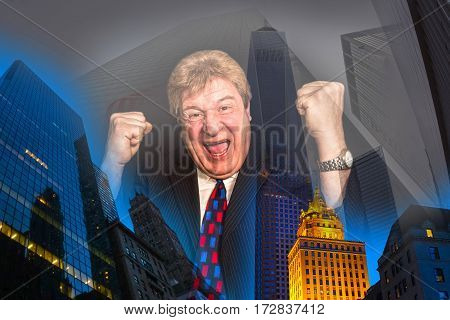 The happy senior businessman as winner laughing on abstract city background. Concept of success in business