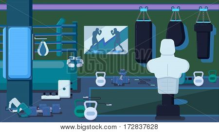 Flat colorful gym Running Workout indoor vector illustration
