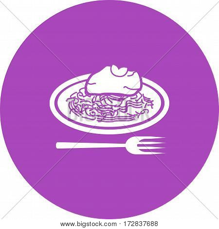 Spaghetti, bolognese, food icon vector image. Can also be used for european cuisine. Suitable for mobile apps, web apps and print media.