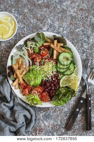 Crunchy taco vegetables salad bowl. Delicious food top view