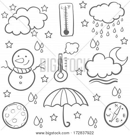 Doodle of weather design vector art collection