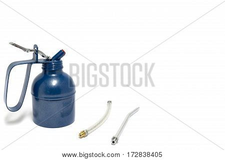 Blue Oil Can Isolated On White Background.oil Can Isolated