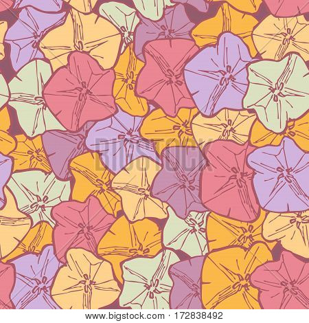bindweed floral seamless pattern flowers contours pink lilac blue orange on maroon background hand-drawn. Vector illustration