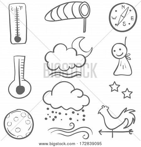 Doodle of weather set collection vector art