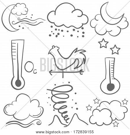 Doodle of weather style design collection vector art