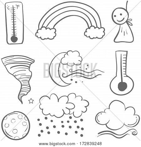 Doodle of weather art collection vector illustration