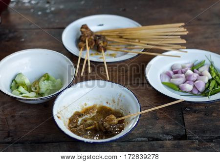 Beef satay food must taste when visiting Chiang Mai Thailand.