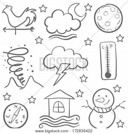 Doodle of weather set element collection vector art