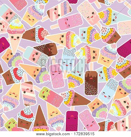 seamless pattern cupcakes with cream ice cream in waffle cones ice lolly Kawaii with pink cheeks and winking eyes pastel colors on light lilac background. Vector illustration