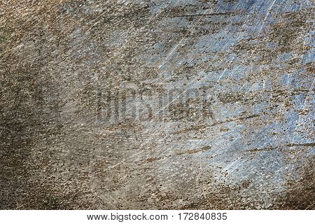 Scratched rusty old metal texture. Grunge iron industrial metal background.