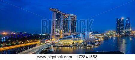 Singapore Skyline. Singapore`s business district blue sky and night view for marina bay sand