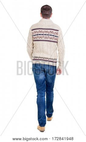 Back view of going  handsome man in a knitted sweater. walking young guy . Rear view people collection.  backside view of person.  Isolated over white background.