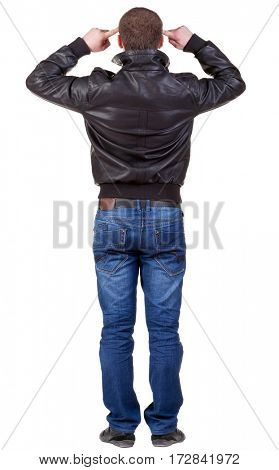 Rear view people collection. Back view of thinking  man in jacket.  backside view of person.  Isolated over white background.