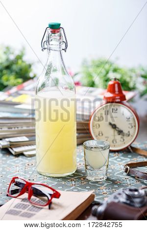 Coctail In Glassy Bottle And Glass