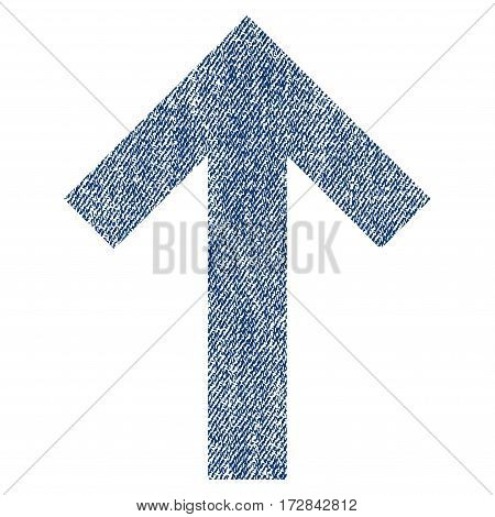 Arrow Up vector textured icon for overlay watermark stamps. Blue jeans fabric vectorized texture. Symbol with unclean design. Blue ink rubber seal stamp with fiber textile structure.