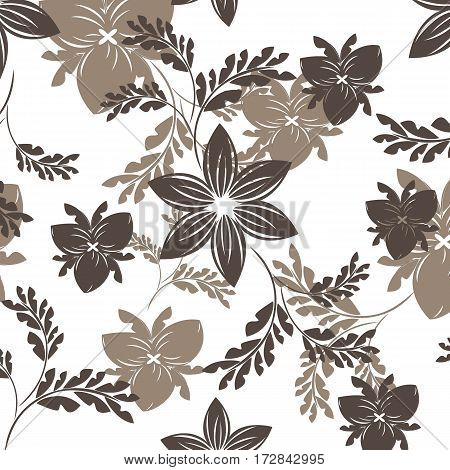 vector seamless brown pattern flowers and floral pattern illustration