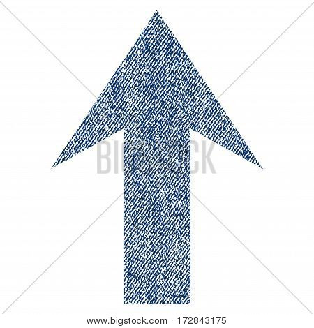 Arrow Up vector textured icon for overlay watermark stamps. Blue jeans fabric vectorized texture. Symbol with dirty design. Blue ink rubber seal stamp with fiber textile structure.