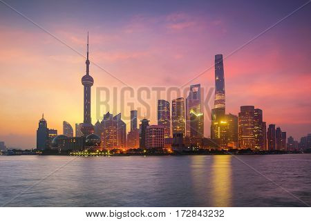 Pudong Skyline at sunrise Shanghai China. asia city scape