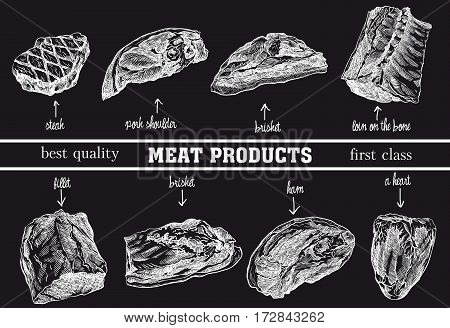 meat products set of hand drawn vector sketches on a black background