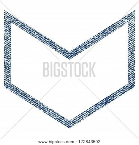 Arrowhead Down vector textured icon for overlay watermark stamps. Blue jeans fabric vectorized texture. Symbol with dust design. Blue ink rubber seal stamp with fiber textile structure.