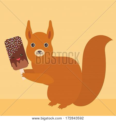 red squirrel with chocolate ice cream ice lolly Kawaii with pink cheeks and winking eyes pastel colors on light orange golden background. Vector illustration