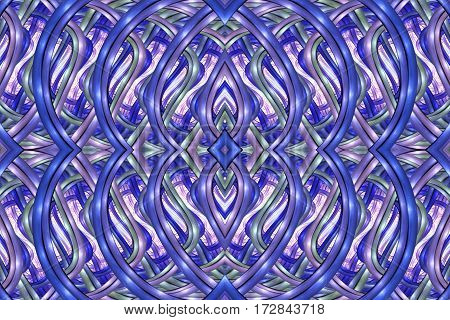 Abstract Intricate Symmetrical Ornament In Royal Blue And Grey Colors. Seamless Fractal Texture. Dig