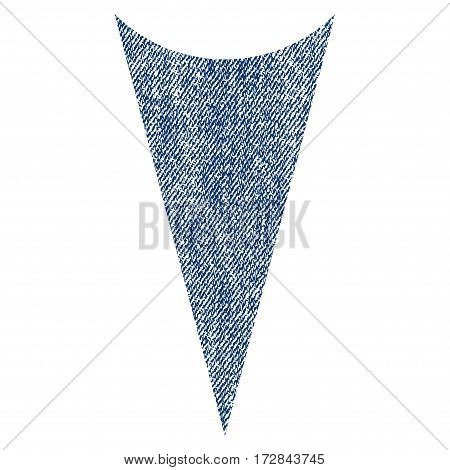 Arrowhead Down vector textured icon for overlay watermark stamps. Blue jeans fabric vectorized texture. Symbol with scratched design. Blue ink rubber seal stamp with fiber textile structure.