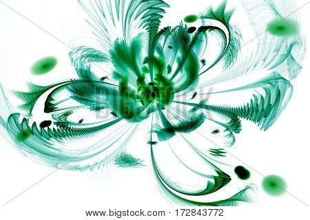 Abstract Exotic Flower With Textured Petals On White Background. Fantasy Fractal Design In Green And