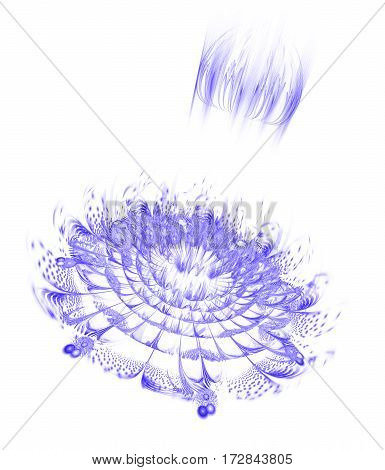 Abstract Exotic Flower With Glowing Sparkles On White Background. Fantasy Fractal Design In Blue Col
