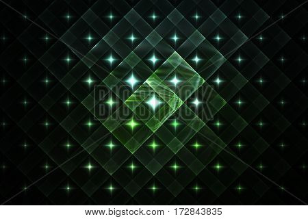Abstract Geometric Ornament With Glowing Sparkles On Black Background. Fantasy Fractal Design In Gre