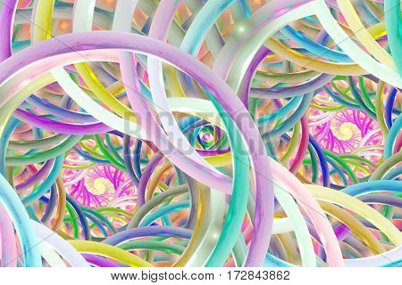 Abstract Colorful Spirals. Fantasy Fractal Background In Blue, Pink, Orange And Green Colors. Digita