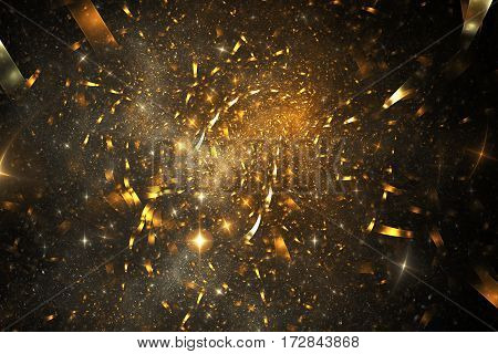 Abstract Glowing Shapes On Black Background. Fantasy Fractal Design In Golden Colors. Psychedelic Di