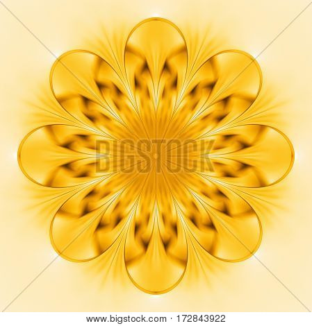 Abstract Exotic Golden Flower. Psychedelic Mandala Design In Bright Yellow Colors. Fantasy Fractal A
