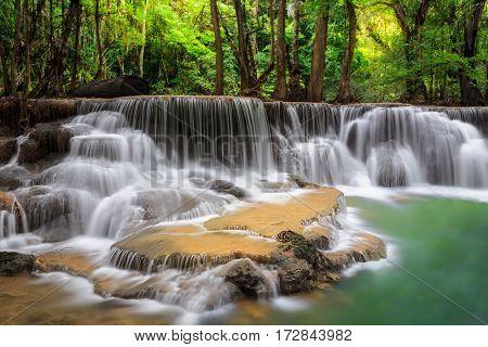 Level five of Erawan Waterfall in Kanchanaburi Province Thailand