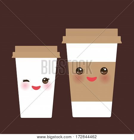 Take-out coffee in Paper thermo coffee cup with brown cap and cup holder. Kawaii cute face with eyes and smile on dark brown background. Vector illustration