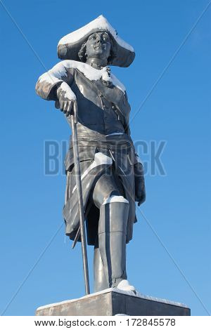 SAINT PETERSBURG, RUSSIA - FEBRUARY 06, 2017: The sculpture of the russian emperor Paul I closeup of sunny February day. The monument at the Pavlovsk Palace