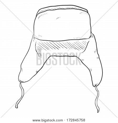 Vector Sketch Traditional Russian Earflaps Hat