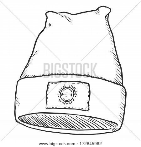 Vector Sketch Winter Textile Cap With Label.