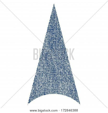 Arrowhead Up vector textured icon for overlay watermark stamps. Blue jeans fabric vectorized texture. Symbol with unclean design. Blue ink rubber seal stamp with fiber textile structure.