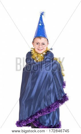 Portrait of a boy dressed as a magician